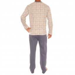 Pyjama long Christian Cane Fabrice en coton : tee-shirt manches longues col V gris clair à carreaux orange, jaunes et blancs et pantalon bleu indigo