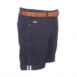 Short chino Deeluxe Est. 74 Junior City en coton stretch bleu marine à ceinture marron
