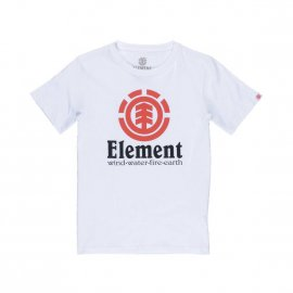 Tee-shirt col rond Element Junior Vertical en coton blanc floqué du logo
