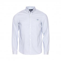 Chemise droite Fred Perry en coton bleu à rayures blanches