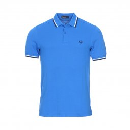 Polo Fred Perry Twin Tipped en piqué de coton bleu roi