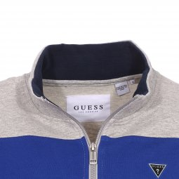 Sweat zippé Guess en coton stretch gris chiné à bandes bleues