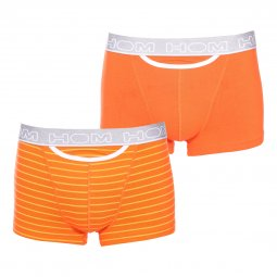 Lot de 2 boxers HO1 Hom Pop en coton stretch orange et orange à rayures orange foncé