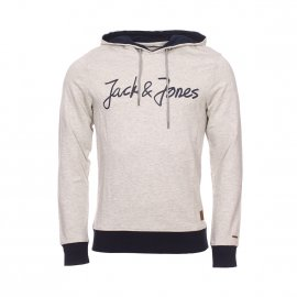 Sweat à capuche Jack & Jones Jorlegend en coton mélangé gris chiné