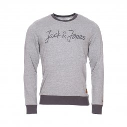 Sweat col rond Jack & Jones Jorlegend en coton mélangé gris chiné