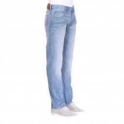 Jean droit Lee Daren Zip Fly Kick It en coton stretch bleu clair