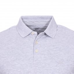 Polo Lee Sharp en piqué de coton gris chiné