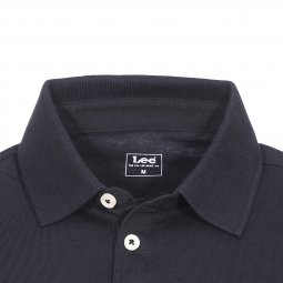 Polo Lee Blocking en piqué de coton noir et gris chiné