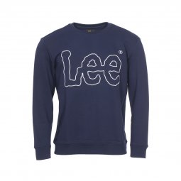 Sweat col rond Lee Outline Logo en coton bleu marine floqué