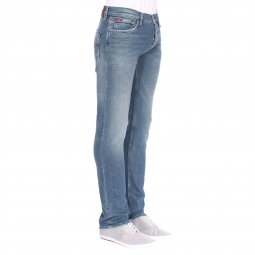 Jean droit Lee Cooper Jakez Lime Brushed bleu aspect délavé