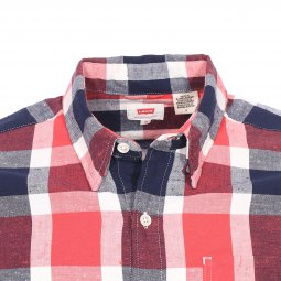 Chemise droite Levi's Sunset One Pocket Pintail Sunset Red à carreaux rouges, bleu marine et blancs