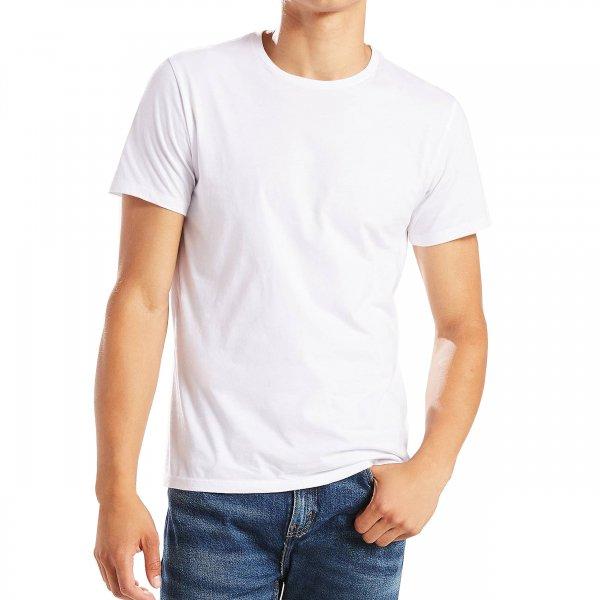 lot de 2 tee shirts levi 39 s slim fit crewneck en coton blanc et bleu marine rue des hommes. Black Bedroom Furniture Sets. Home Design Ideas