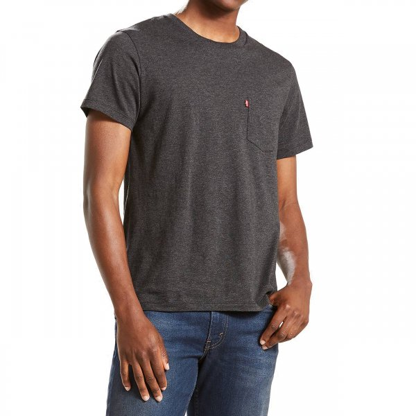 Tee-shirt col rond Levi's Sunset Pocket en coton Supima gris anthracite