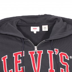 Sweat à capuche zippé Levi's Graphic Zip Up Hoodie en coton noir floqué