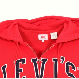 Sweat à capuche zippé Levi's Graphic Zip Up Hoodie en coton rouge floqué