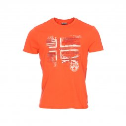 Tee-shirt col rond Napapijri Sancy en coton orange floqué