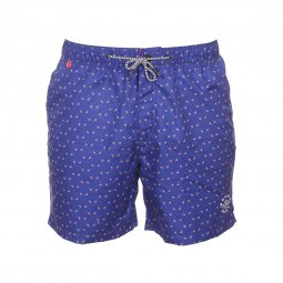Short de bain Scotch & Soda bleu à motif fantaisie rouge et blanc