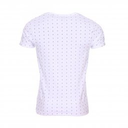 Tee-shirt col rond Scotch & Soda en coton stretch blanc à motifs