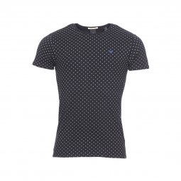 Tee-shirt col rond Scotch & Soda en coton stretch noir à motifs