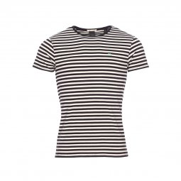 Tee-shirt col rond Scotch & Soda en coton stretch à rayures blanches et noires