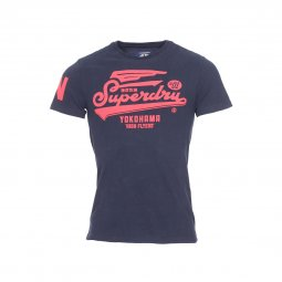 Tee-shirt col rond Superdry Retro High Flyers en coton bleu nuit