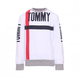 Sweat col rond Tommy Hilfiger Junior Bold Text blanc floqué