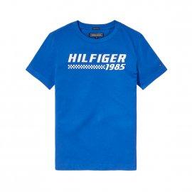 Polo Tommy Hilfiger Junior bleu marine à rayures rouges, noires et blanches | Rue Des Hommes