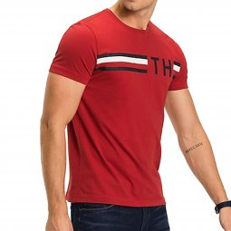 Tee-shirt col rond Tommy Hilfiger Striped Logo Graphic en coton rouge