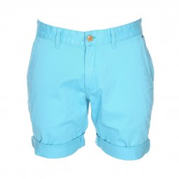 Short Tommy Jeans Basic en coton stretch bleu turquoise