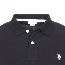 Polo U.S. Polo Assn. Institutional en piqué de coton noir