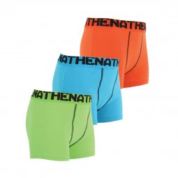 Lot de 3 boxers Athena Junior Eco Pack en coton stretch colorés et ceintures ton sur ton