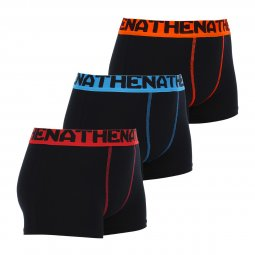 Lot de 3 boxers Athena Junior en coton stretch noir avec ceintures colorées
