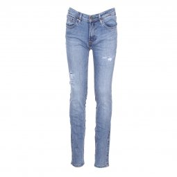 Jean skinny Teddy Smith Junior Flash en coton stretch bleu clair à aspect usé