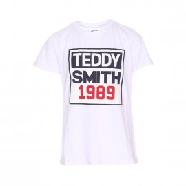 Tee-shirt col rond Teddy Smith Junior Tjoe en coton blanc floqué
