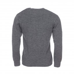 Pull marin col rond boutonné Armor Lux Fouesnant en laine gris anthracite chiné
