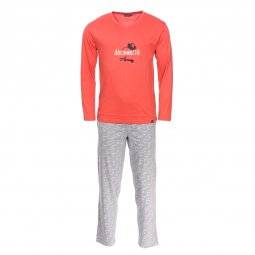 Pyjama long Arthur Clavier en coton : tee-shirt manches longues col V orange floqué