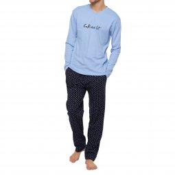37b456bd465 Pyjama long Arthur Expresso en coton   tee-shirt manches longues col V bleu  ciel ...