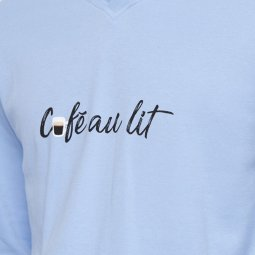 aec09f63576 ... Pyjama long Arthur Expresso en coton   tee-shirt manches longues col V  bleu ciel ...