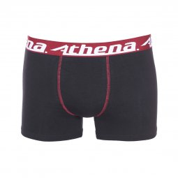 Lot de 3 boxers Athena Junior en coton stretch noir à ceintures colorées