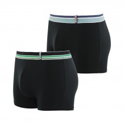 Lot de 2 boxers Athena Easy Color en coton stretch noir à ceintures rayées colorées