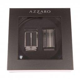 Coffret ceinture ajustable Azzaro en refente de cuir de vachette noir  réversible marron   boucle pleine ... b511f285052