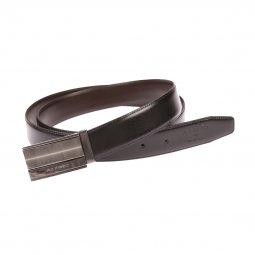 7e818fa8762c ... Coffret ceinture ajustable Azzaro en refente de cuir de vachette noir  réversible marron   boucle pleine
