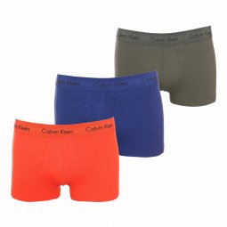 Lot de 3 boxers Calvin Klein Low Rise Trunk en coton stretch bleu indigo, kaki et orange