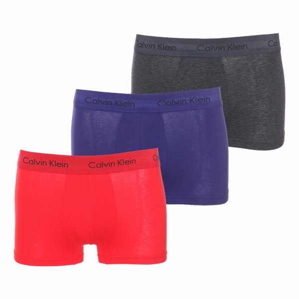 Lot de 3 boxers Calvin Klein Low Rise Trunk en coton stretch rouge, bleu marine et gris anthracite