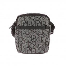 Sacoche Calvin Klein Jeans Mono Mini Reporter gris chiné monogrammée en  noir ... 846c717300e