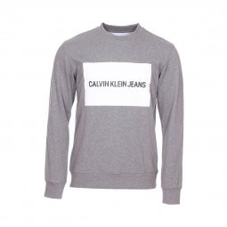 Sweat col rond Calvin Klein Institutional Box Logo en coton gris chiné floqué