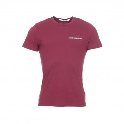 Tee-shirt slim col rond Calvin Klein Jeans Chest Institutional en coton bordeaux floqué en blanc