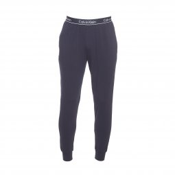 Pyjama long Holiday Calvin Klein en coton stretch bleu marine : tee-shirt col rond manches longues et pantalon