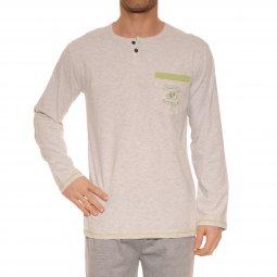 Pyjama long Christian Cane Kennet en coton mélangé   tee-shirt manches  longues col tunisien ... 61fd5b280e26