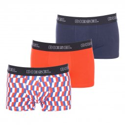 Lot de 3 boxers Diesel Shawn en coton stretch bleu marine, orange et à carreaux